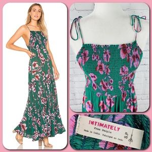 Free People Green & Pink Garden Party Maxi Dress